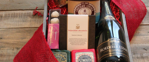 Artisanal Chocolate and Cheese Gift Set with Wine