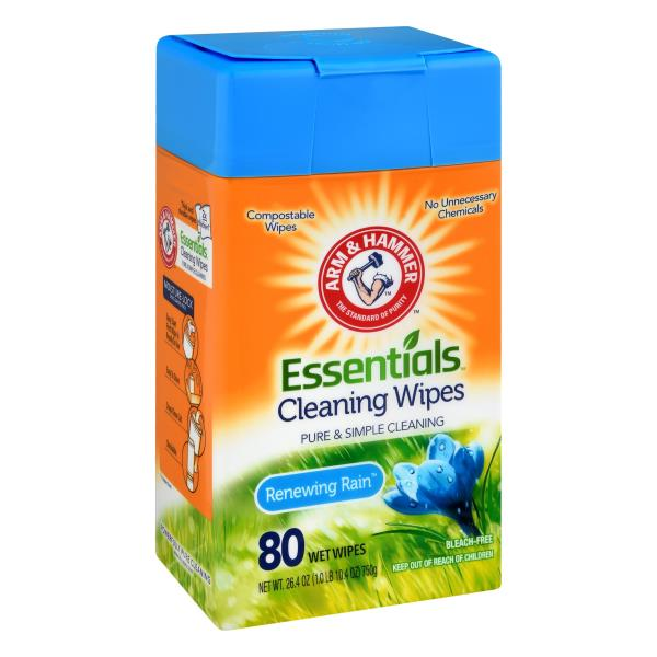 Arm & Hammer Essentials Renewing Rain Cleaning Wipes - 80 ct