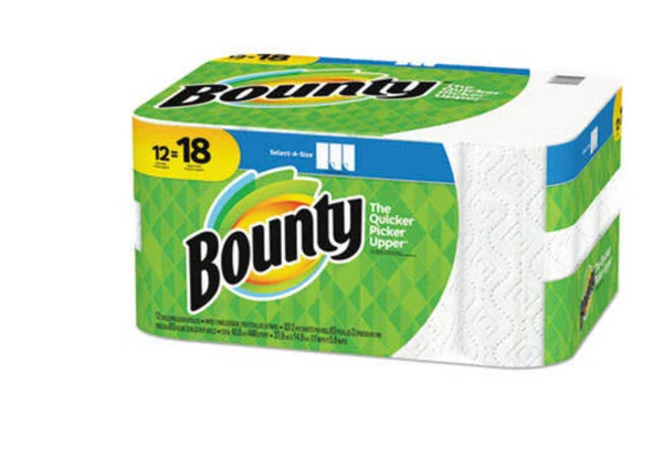 Bounty Paper Towels 2-Ply, White, 5.9 x 11, 83 Sheets per Roll, 12 Rolls