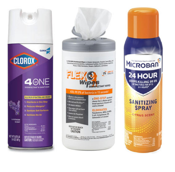 Clorox 4 in 1 Spray, Microban and Flex Wipes
