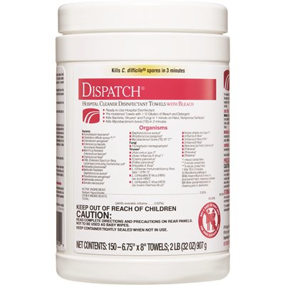 Clorox Dispatch Disinfectant Wipes with Bleach 150 WIPES.