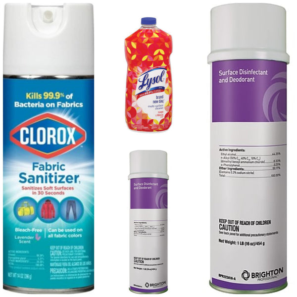Clorox Fabric Sanitizer Spray 14 oz, Two Brighton Disinfecting Sprays 16 oz each and Lysol Multi-Surface Mango & Hibiscus 48 oz.