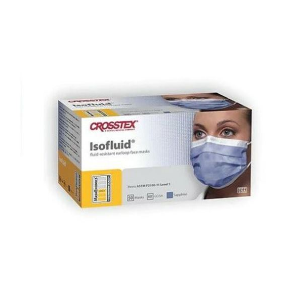 Crosstek ISOFLUID Face Mask - Level 2, Purple color - 50 ct.