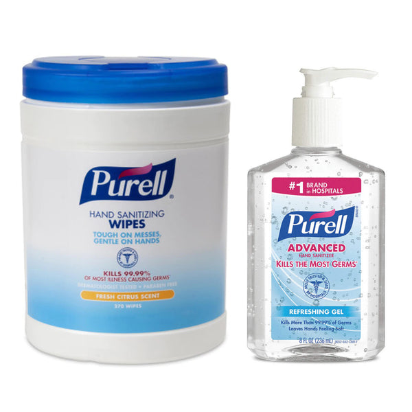 PURELL Sanitizing Hand Wipes 270 ct and Purell 8 oz Kit.