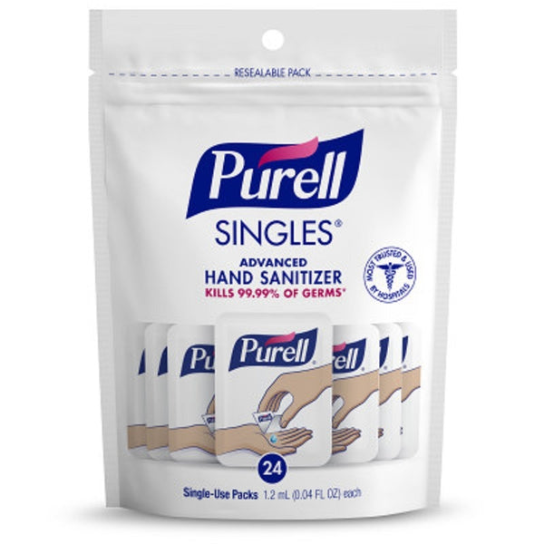 PURELL SINGLES Advanced Hand Sanitizer, with Refreshing Gel, 1.2mL/0.04 oz, 1 Pack of 24 Count