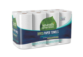 Seventh Generation Recycled Paper Towel Rolls, 11 x 5.4, 2-Ply, White, 156 Sheets-Roll, 8 Rolls