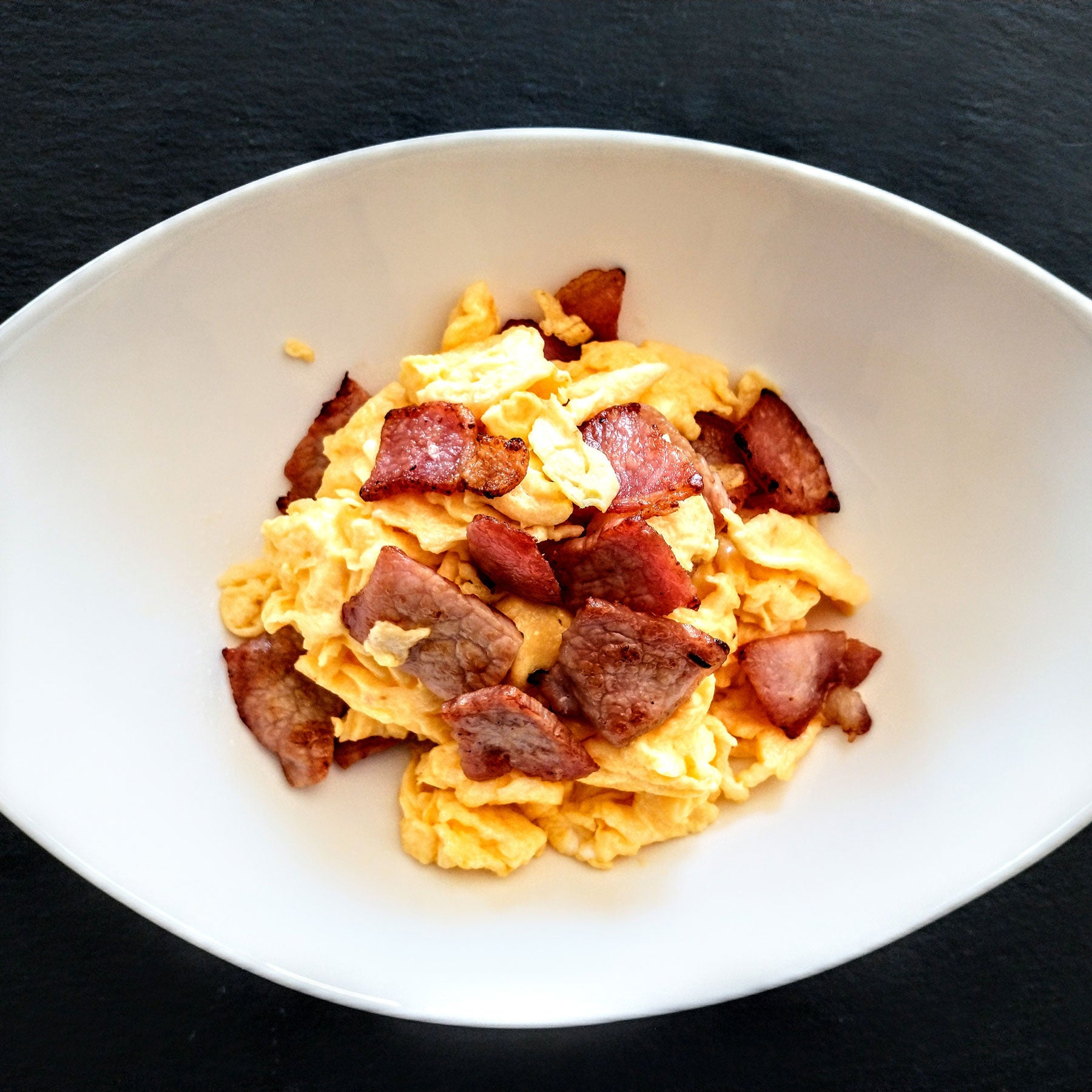 Chunky Scrambled Eggs with Bacon Pieces