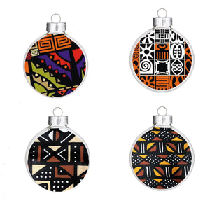 Ethnic African Print Christmas Ornaments Pack of Four