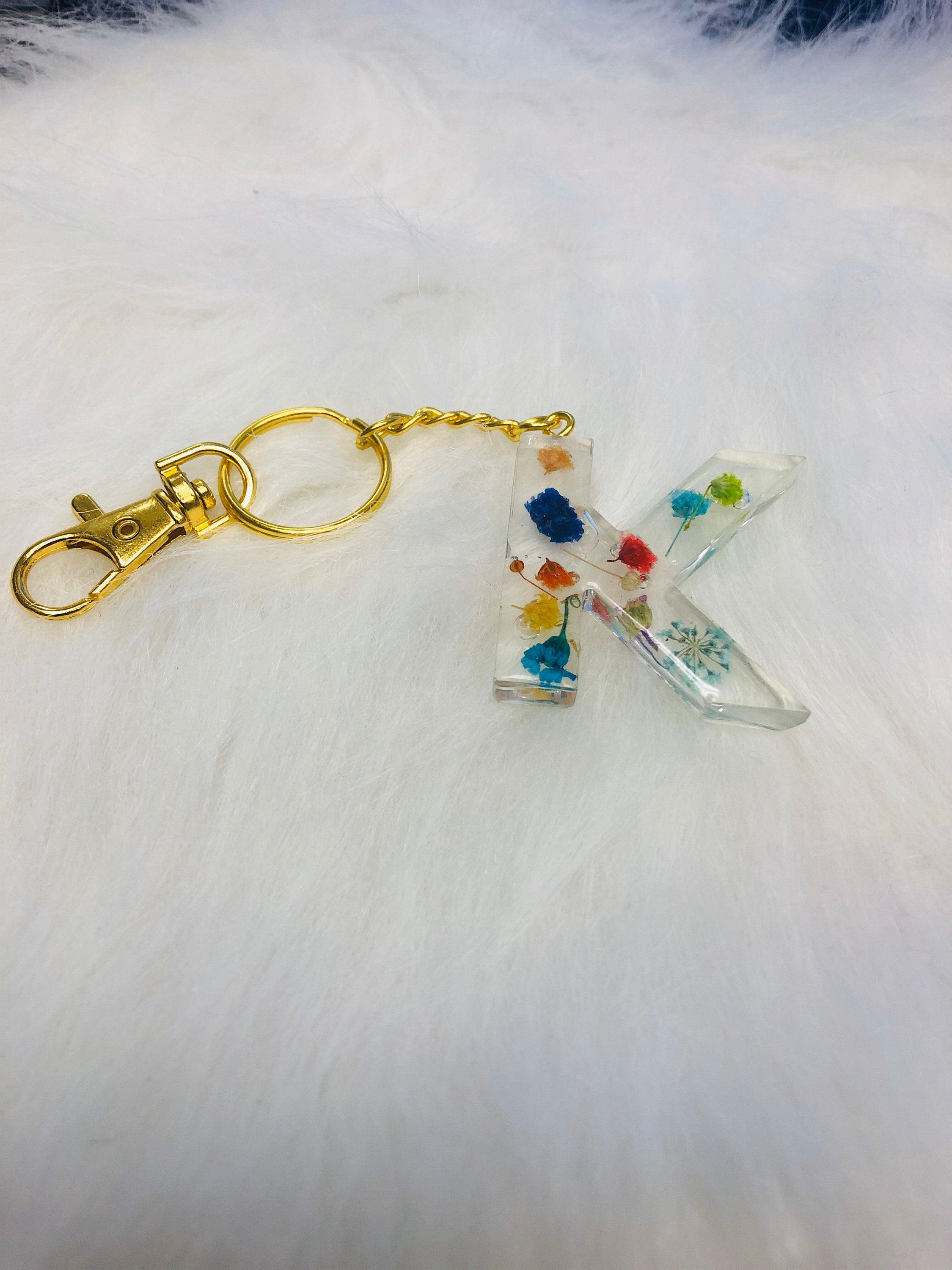 Clear Resin Real Pressed Flower Keychain