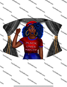 Black Lives Matter Mask Face Covering Adjustable with pocket and two filters