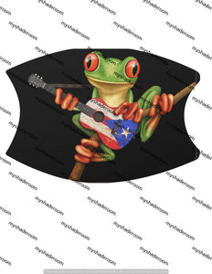 Puerto Rican Frog Playing Guitar Mask Adjustable Face Covering with Two Filters