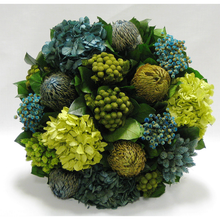 Load image into Gallery viewer, [1010-GG-HDBHDNB] Small Wooden Round Container Grey Green - Banksia, Pharalis & Hydrangea Basil & Natural Blue