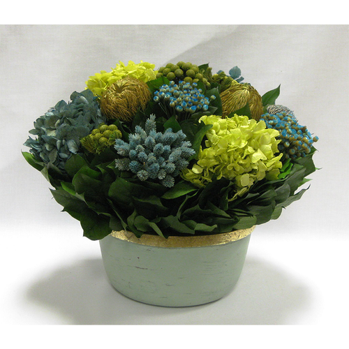Small Wooden Round Container Grey Green - Banksia, Pharalis & Hydrangea Basil & Natural Blue