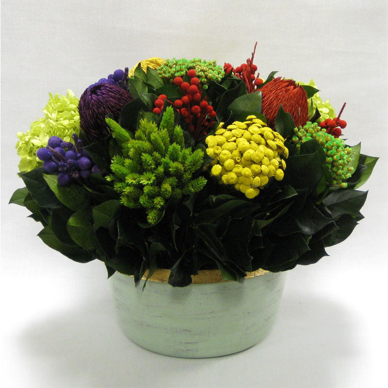 Small Wooden Round Container Grey Green - Multicolor w/ Banksia, Brunia, Pharalis & Hydrangea Basil