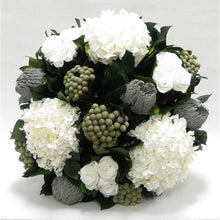 Load image into Gallery viewer, [1010-GS-RBKBRHDW] Small Wooden Round Container Grey Silver - Roses White, Banksia Lt Grey, Brunia Nat & Hydrangea White