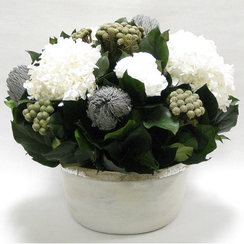 Small Wooden Round Container Grey Silver - Roses White, Banksia Lt Grey, Brunia Nat & Hydrangea White