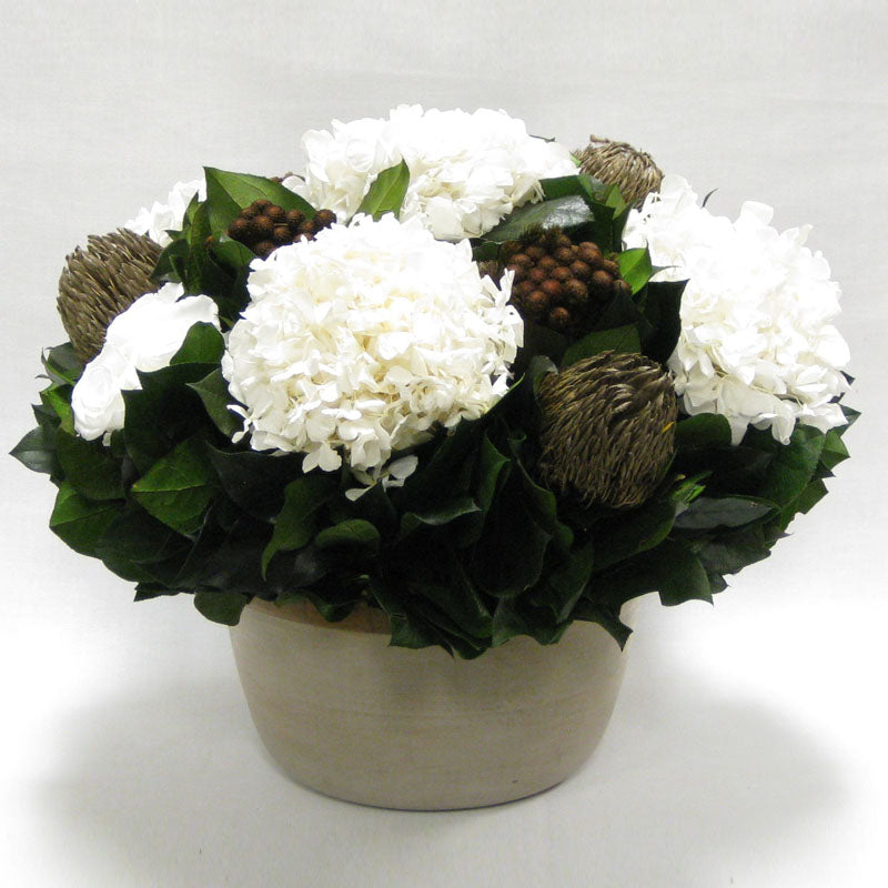 Small Wooden Round Container Patina Distressed w/Bronze - Roses White, Banksia Bronze, Brunia Brown & Hydrangea White