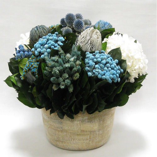 Small Wooden Round Container Weathered Antique - Echinops w/ Banksia, Brunia, Pharalis & Hydrangea White