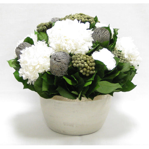 Medium Round Wooden Grey Silver Container - Roses White, Banksia Lt Grey, Brunia Nat & Hydrangea White