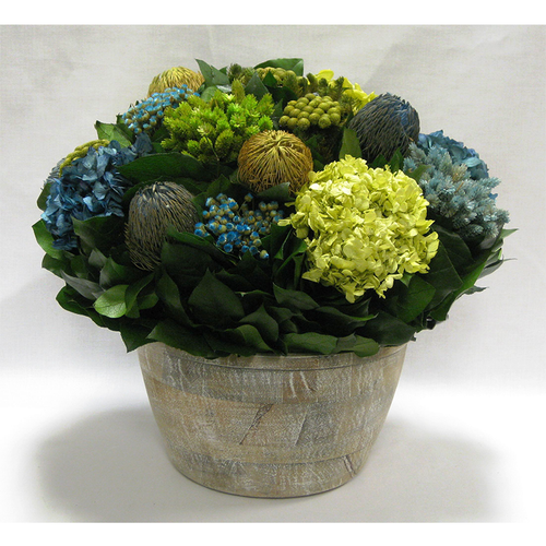 Medium Round Wooden Container - Banksia, Pharalis & Hydrangea Basil & Natural Blue