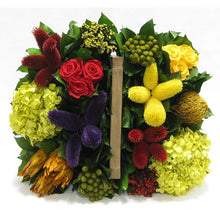 Load image into Gallery viewer, [1179S-MLP4] Wooden Basket w/ Handle Small - Multicolor w/ Clover, Roses, Banksia, Protea & Hydrangea Basil