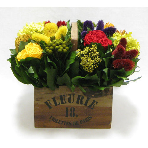 Wooden Basket w/ Handle Small - Multicolor w/ Clover, Roses, Banksia, Protea & Hydrangea Basil