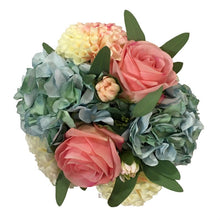 Load image into Gallery viewer, [RCS-G-ADALBP] Resin Round Container Small Gold Leaf - Artificial Dahlia, Rose & Hydrangea -  Blue & Pink