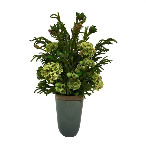 Grey Oval Tall Vase - Greenery Artificial
