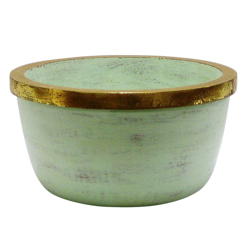 Small Wooden Round Pot w/ Handle - Grey Green w/Gold