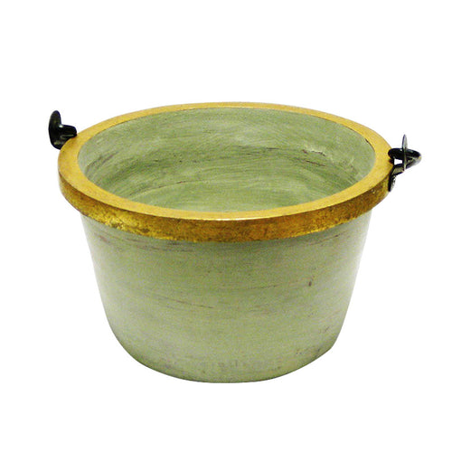 Medium Wooden Round Pot w/ Handle - Grey Green