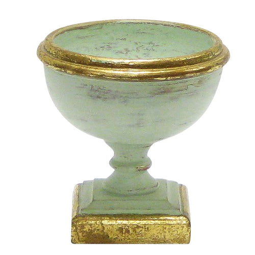 Wooden Footed Bowl Small - Grey Green w/ Gold Antique