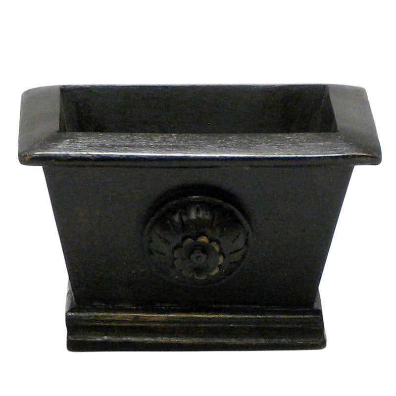 Wooden Mini Rect Planter w/ Medallion - Black Antique