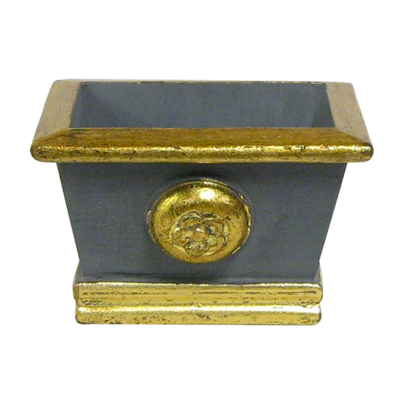 Wooden Mini Rect Planter w/ Medallion - Dark Blue Grey w/ Antique Gold