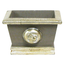 Load image into Gallery viewer, [WMRPM-DS-RHDNBHDW] Wooden Mini Rect Container w/ Medallion Dark Grey w/ Silver - Roses White, Brunia Natural Brunia, Hydrangea Natural Blue & White