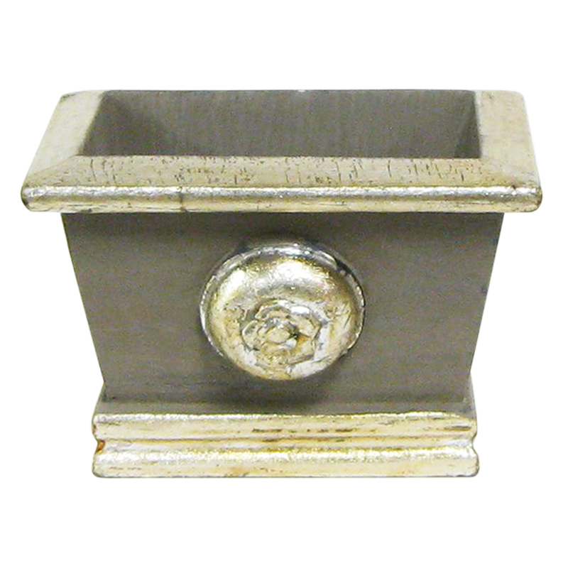 Wooden Mini Rect Planter w/ Medallion -  Dark Grey w/ Antique Silver