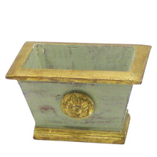 Load image into Gallery viewer, [WMRPM-GG-HDBHDNB] Wooden Mini Rect Container w/ Medallion Grey Green w/ Gold - Banksia, Pharalis & Hydrangea Basil & Natural Blue