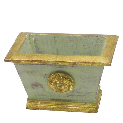 Wooden Mini Rect Planter w/ Medallion - Grey Green