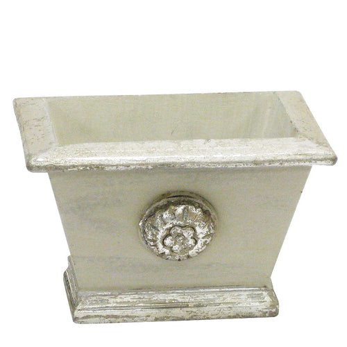 Wooden Mini Rect Planter w/ Medallion - Antique Grey w/ Silver