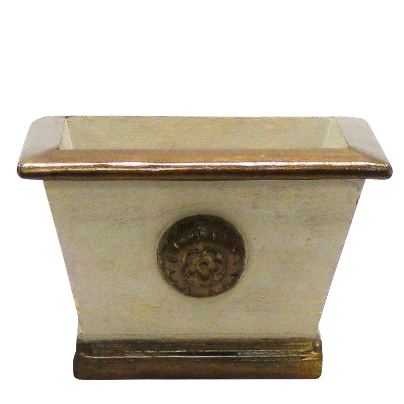 Wooden Mini Rect Planter w/ Medallion - Patina Distressed w/ Bronze