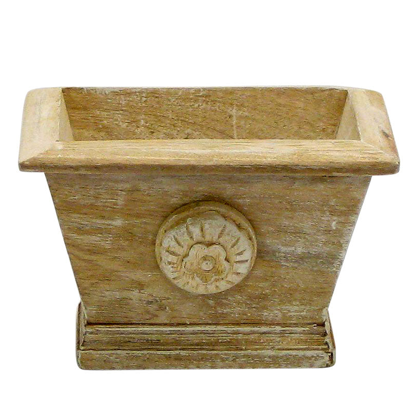 Wooden Mini Rect Planter w/ Medallion - Weathered Antique