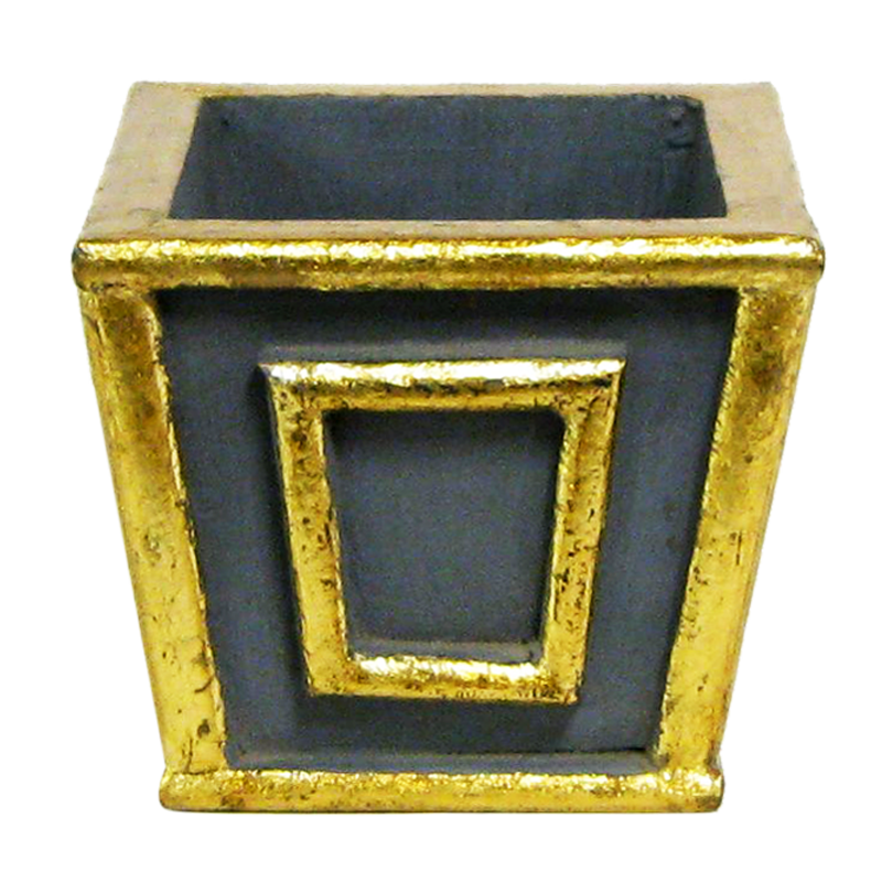 Wooden Mini Square Planter - Dark Blue Grey w/ Antique Gold