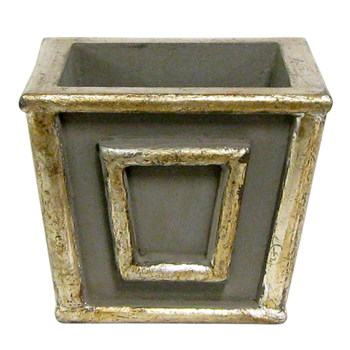 Wooden Mini Square Planter -  Dark Grey w/ Antique Silver