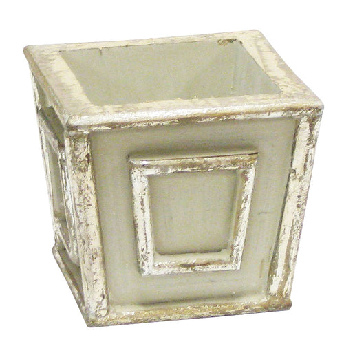 Wooden Mini Square Planter - Antique Gray w/ Silver