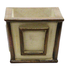 Load image into Gallery viewer, [WMSP-PD-RBKBZHDW] Small Wooden Square Container Patina Distressed w/ Bronze - Roses White, Banksia Bronze, Brunia Brown & Hydrangea White