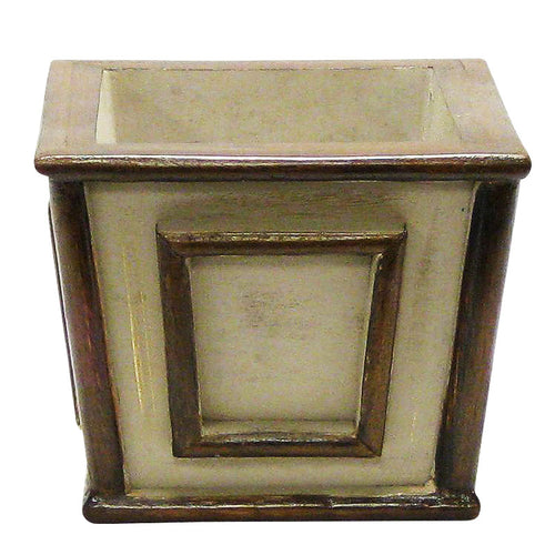 Wooden Mini Square Planter - Patina Distressed w/ Bronze