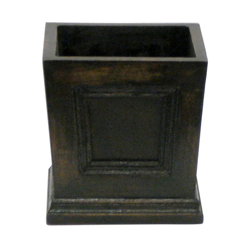 Wooden Mini Square Planter w/ Inset - Black Antique