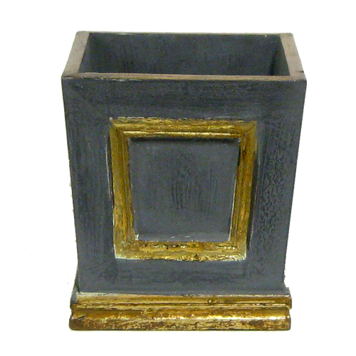 Wooden Mini Square Planter w/ Inset - Dark Blue Grey w/ Antique Gold