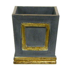 Load image into Gallery viewer, [WMSPI-DG-OROC2] Wooden Mini Square Container Dark Blue Grey & Gold - White & Purple Orchid Artificial