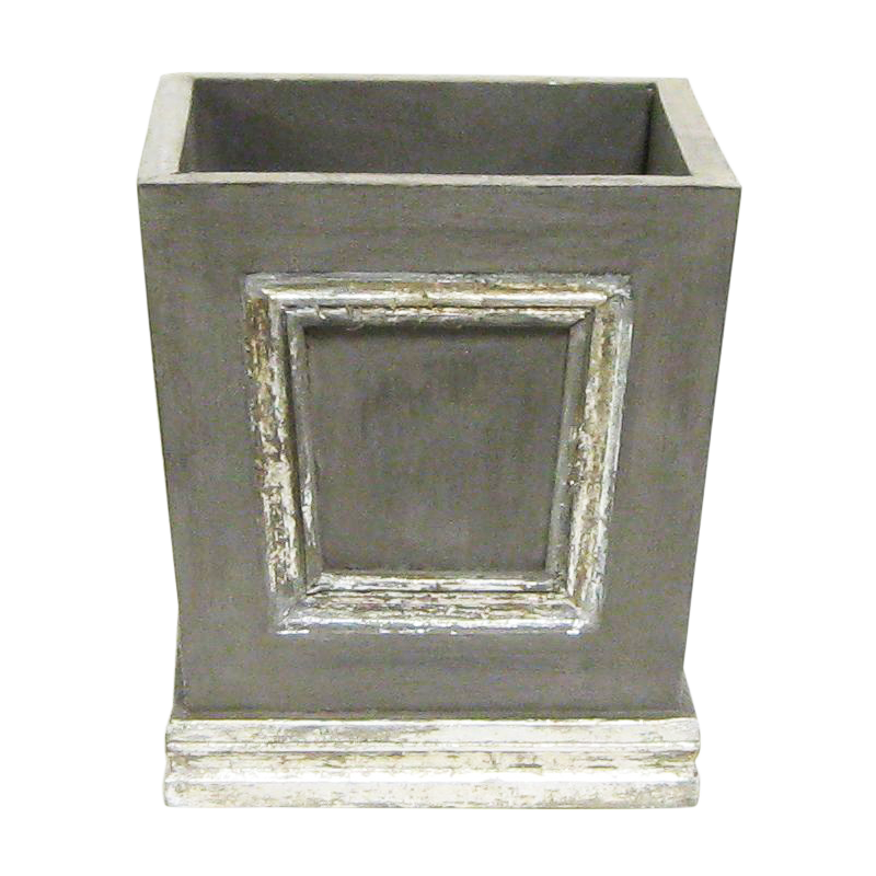 Wooden Mini Square Planter w/ Inset -  Dark Grey w/ Antique Silver