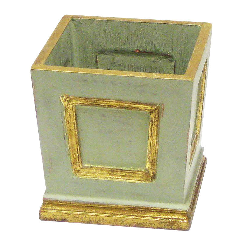 Wooden Mini Square Planter w/ Inset - Gray Green